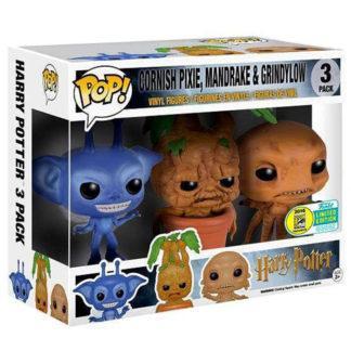 Figurines Funko Pop Cornish Pixie, Mandrake & Grindylow (Harry Potter)